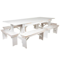 8and039 X 40and039and039 Rectangular Antique Rustic White Folding Farm Table W/ 6 Benches Set