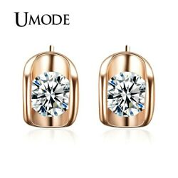 UMODE Rose Gold Color 0.5 carat Cubic Zirconia CZ Stone Stud Earrings JE0218..
