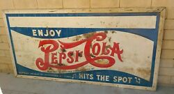 Rare Vtg Antique 1930's 1940's Stamped Metal Pepsi Cola Hits The Spot 8x4 Sign
