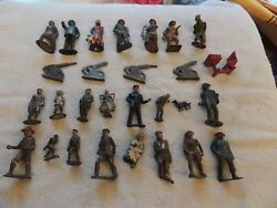 Lot Of Vintage Toy Soldiers Conductor Nurse Cannons Dog Cast/iron Or Lead,