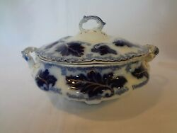 Johnson Brothers Normandy - Flow Blue - Round Covered Vegetable Bowl