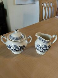 Jandg Meakin Sugar Bowl And Creamer Blue Nordic Classic White England Great Britain