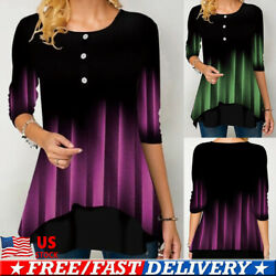 Womens Gradient Long Sleeve T-Shirt Tunic Tops Ladies Casual Loose Blouse Shirts