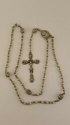 Creed Sterling Silver Ornate Rosary Beads Otc Italy Italian Vintage