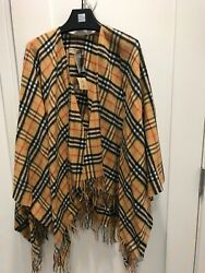 Vintage Check Antique Yellow Collette Poncho/cape Nwt One Size