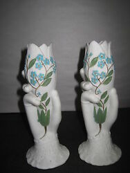 Antique Parian Hand Figurines With Hand Painted Blue Flowers 7 1 2quot; Tall