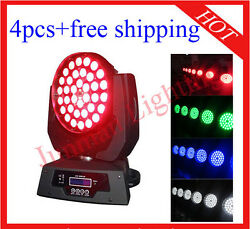 36×10w Rgbw 4 In 1 Led Moving Head Wash Zoom Light 4pcs With Case Free Shipping