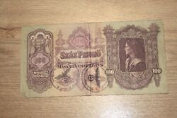 Ww2 Hungary Banknote. 100 Pengo. 2 Different Stamps. Ww2 Occupation. Very Rare.