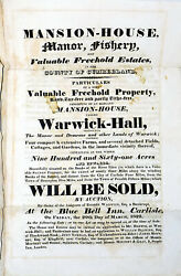 1822 HAND SIGNED DOCUMENT WARWICK HALL SALE Color Map CUMBERLAND ENGLAND MANOR