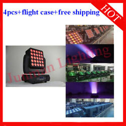 25andtimes12w Rgbw 4 In 1 Matrix Led Beam Moving Head Light 4pcs With Case