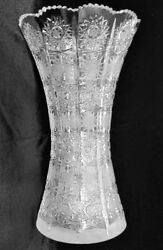 Bohemian Czech Vintage Crystal 14 Tall Vase Hand Cut Queen Lace 24 Lead Glass