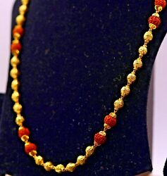22kt Yellow Gold Beads With Natural Rudraksha Beads Necklace Chain Fabulous Gift