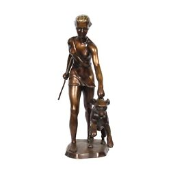 Theodor Eichler 1868-1946 Bronze Sculpture  Diana With Spear And Dog