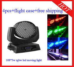 Led Moving Head 1083w Rgbw Wash Party Lights Flight Case 4pcs Free Shipping