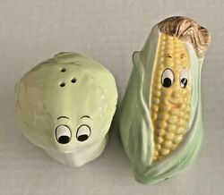 Nos 1992 Enesco Vegetable Salt And Pepper Set - Cabbage And Corn