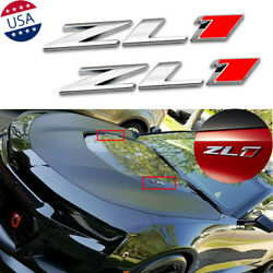 2x Zl1 Chromeandred Emblem Side Body Trunk Badge Decal For 2010-2019 Chevy Camaro