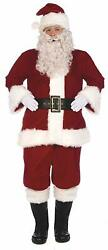 Santa Claus Suit Christmas Holiday Fancy Dress Up Halloween Deluxe Adult Costume