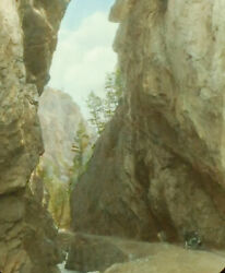 Sinclair Canyon New Road To Columbia Valley Hand Tinted Antique Photo On Glass