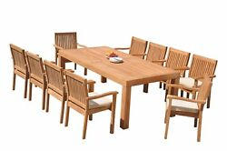 Dslv A-grade Teak 11pc Dining Set Canberra Rectangle Table Stacking Arm Chairs