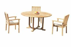 Dslv A-grade Teak 4pc Dining Set 60 Round Table 3 Stacking Arm Chairs Outdoor