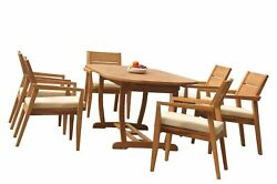 Dsvl A-grade Teak 7pc Dining Set 94 Mas Oval Table Stacking Arm Chairs Outdoor