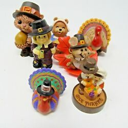 Vintage Lot Of Thanksgiving Fall Decorations Hallmark Merry Miniatures Mouse