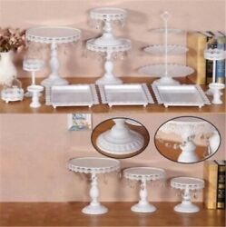 12X Decor Glass White Top Cake Stand Round Metal Wedding Party Cupcake Tower xl