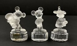 Goebel Germany Disney Mickey Mouse Figurines Frosted Lead Crystal Lot Of 3