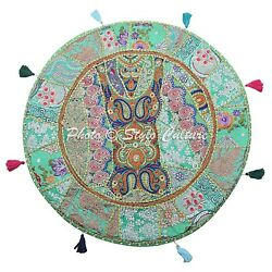 Boho Vintage Round Patchwork Floor Pillow Cover Adults Embroidered Cotton 32x32
