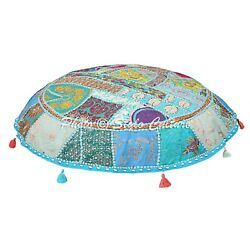 Boho Vintage Round Patchwork Large Floor Pillow Cover Embroidered Cotton 40x40