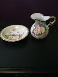 Lefton China Pitcher And Bowl Sl 7642 Hand Painted Floral Pink Yellow Purple Green