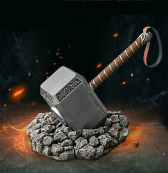 The Avengers Endgame 11 Full Metal Thor Hammer Replica Props Mjolnir W/ Base