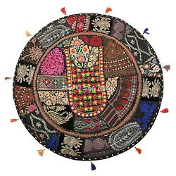 Boho Floor Pillow Cover Round Patchwork Vintage Adults Embroidered Cotton 28x28
