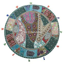 Vintage Indian Round Patchwork Floor Pillow Cover Adults Embroidered Cotton 28