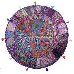 Ethnic Floor Pillow Cover Round Patchwork Vintage Adults Embroidered Cotton 28
