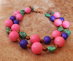 Candy Colors Purple Pink Jade Mint Green Turquoise Statement Necklace Copper Gem