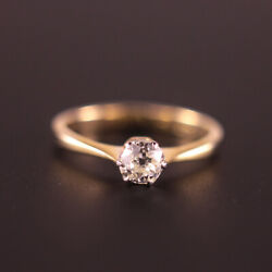 0.44ct Antique Victorian Old Cut Diamond Engagement Ring In 18ct Yellow Gold