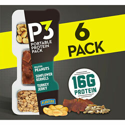 Planters P3 Roasted Peanuts Sunflower Kernels And Turkey Jerky Pack Of 6 Trays