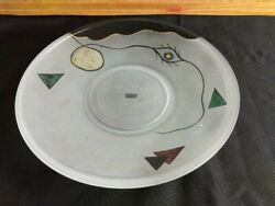 Vintage Large Frosted Art Glass Plate Hand Painted From Germany