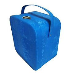 Air-Lander Blue Vinyl Wig Case Vintage Travel Hat Box Orig Head Stand