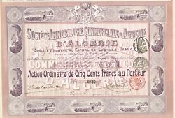 Africa Algeria Commercial And Agriculture Real Estate Stock Certificate/bond 1914