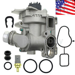 Water Pump With Sensor + Cooler Pipe For Audi A3 A4 A5 Vw Cc Tt Tiguan Gti 2.0t