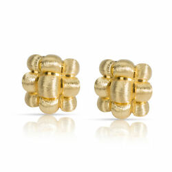 Dunay Brushed Gold Woven Clip-on Earrings In 18k Yellow Gold