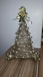 Handmade small christmas tree pearls village bells white and gold rich holy love