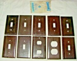 Vintage Lot Of 10 Leviton Bakelite House Outlet Light Switch Cover Plates