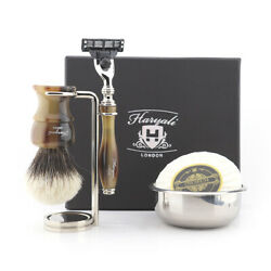 Mens 5 Shaving Products In 1 Pack Wet Tool Kit For Gent's Head And Clean Shave Set