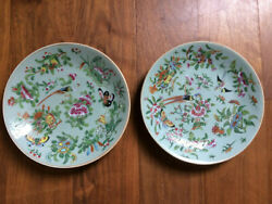 2 X Antique Chinese Fencai - Rose Family - Hand Painted Plate Circa Late 1800s