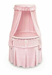 New Elite Pink Canopy White Wood Newborn Baby Infant Bassinet Oval Round Bed