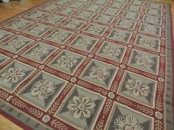 10x14 French Aubusson Needlepoint Geometric Garden Area Rug Floral Beige Red
