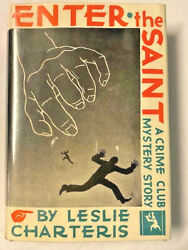Scarce Signed With Drawing Leslie Charteris Enter The Saint 1931 Crime Club Fine